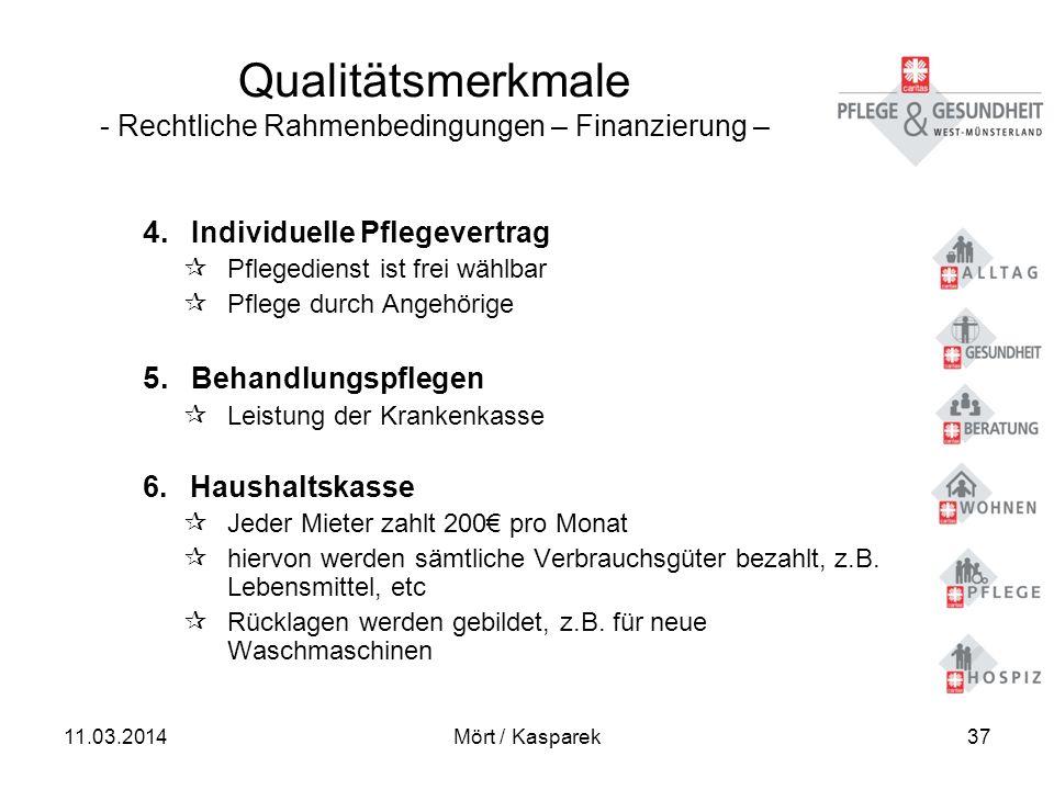 Qualitätsmerkmale - Rechtliche Rahmenbedingungen – Finanzierung –