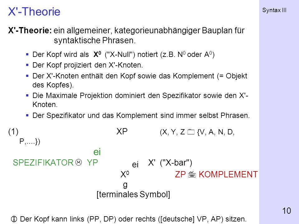 X -Theorie X -Theorie: ein allgemeiner, kategorieunabhängiger Bauplan für syntaktische Phrasen.