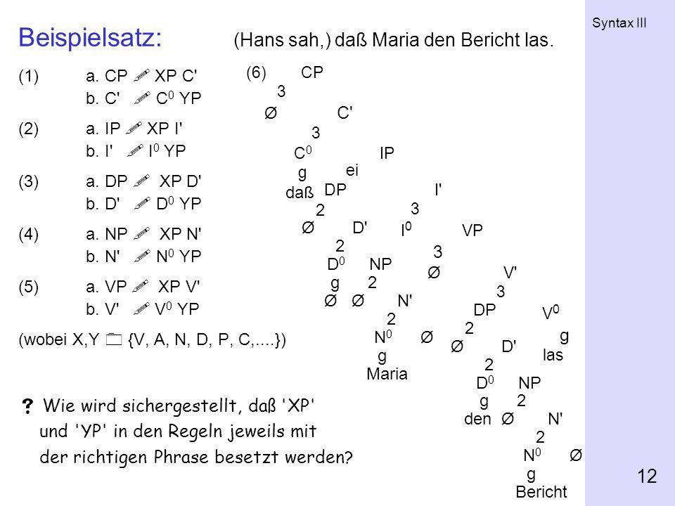 Beispielsatz: (Hans sah,) daß Maria den Bericht las.