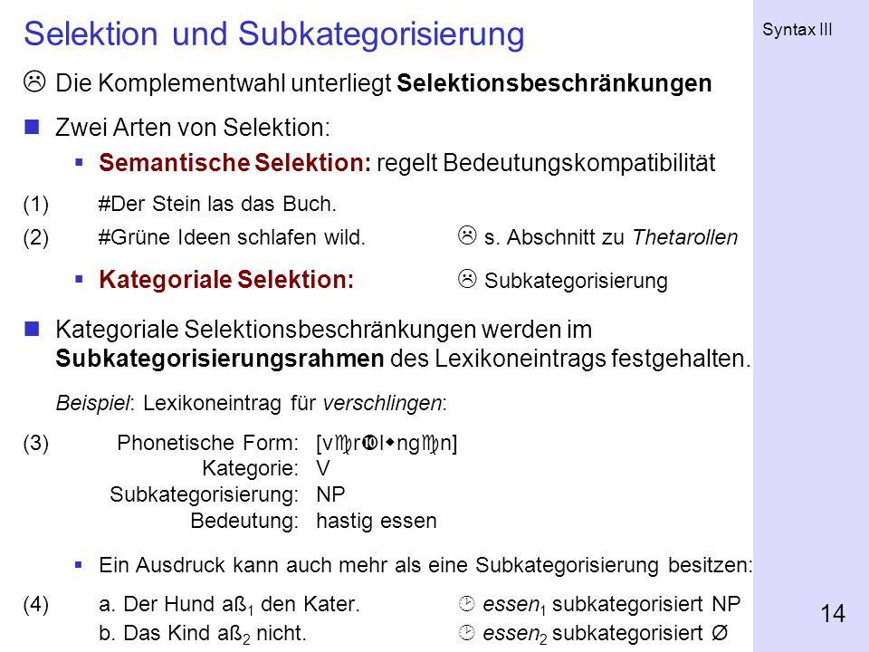 Selektion und Subkategorisierung