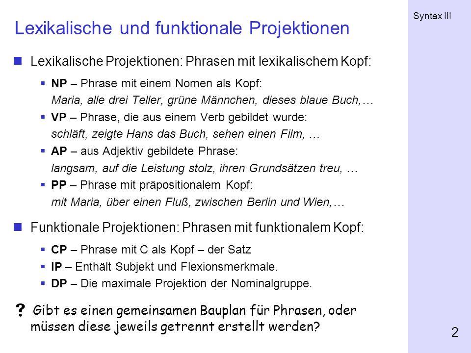 Lexikalische und funktionale Projektionen