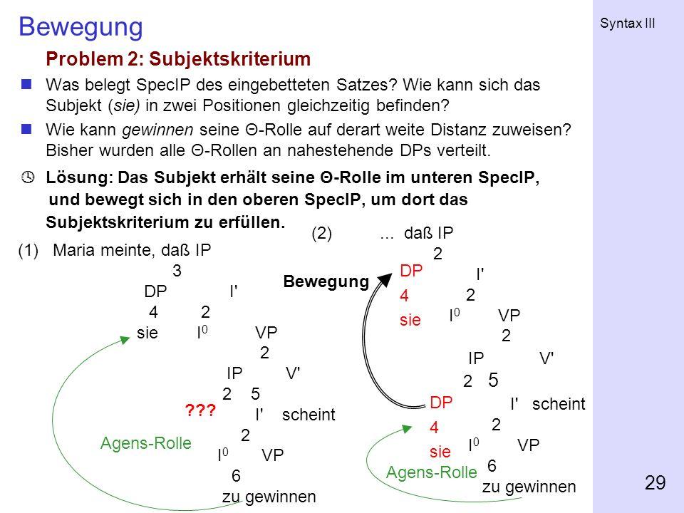 Bewegung Problem 2: Subjektskriterium 2 5 I scheint