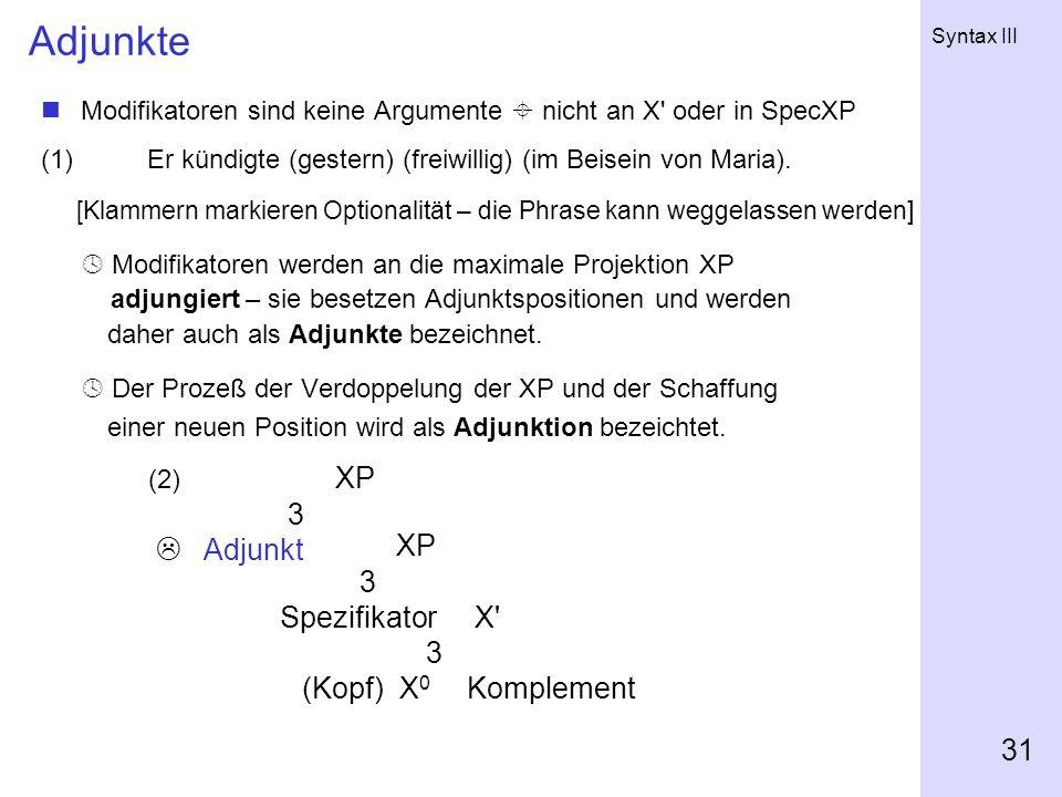 Adjunkte XP 3  Adjunkt 3 Spezifikator X (Kopf) X0 Komplement