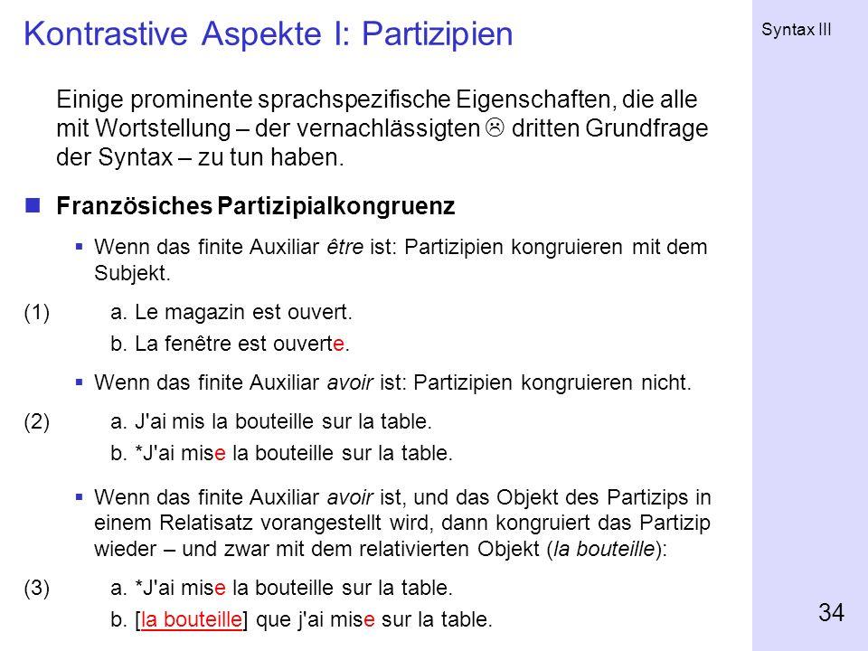 Kontrastive Aspekte I: Partizipien