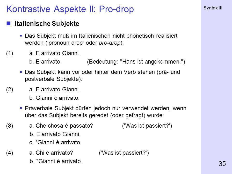 Kontrastive Aspekte II: Pro-drop