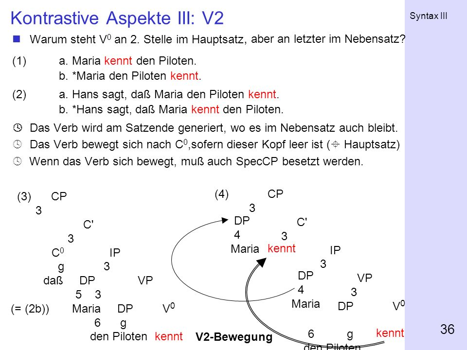 Kontrastive Aspekte III: V2