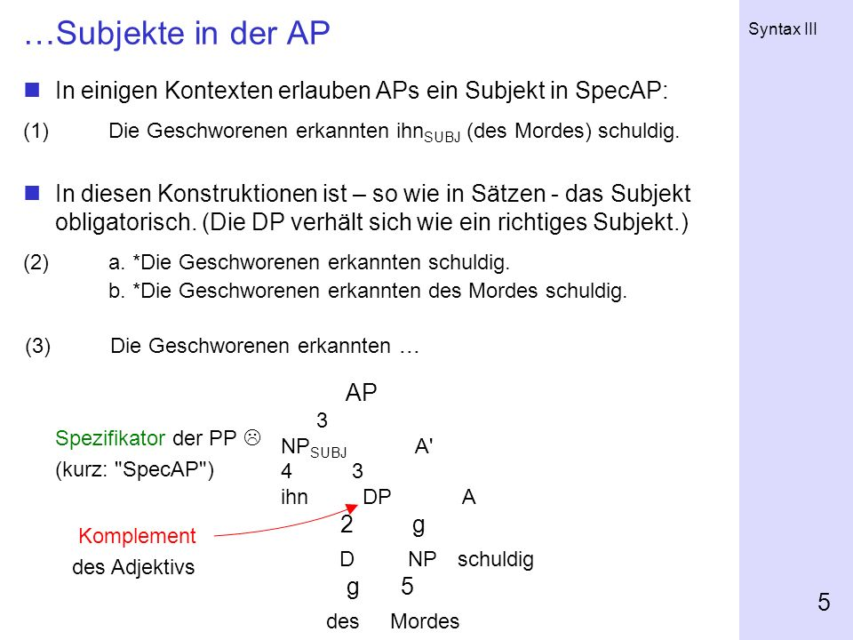 …Subjekte in der AP In einigen Kontexten erlauben APs ein Subjekt in SpecAP: (1) Die Geschworenen erkannten ihnSUBJ (des Mordes) schuldig.