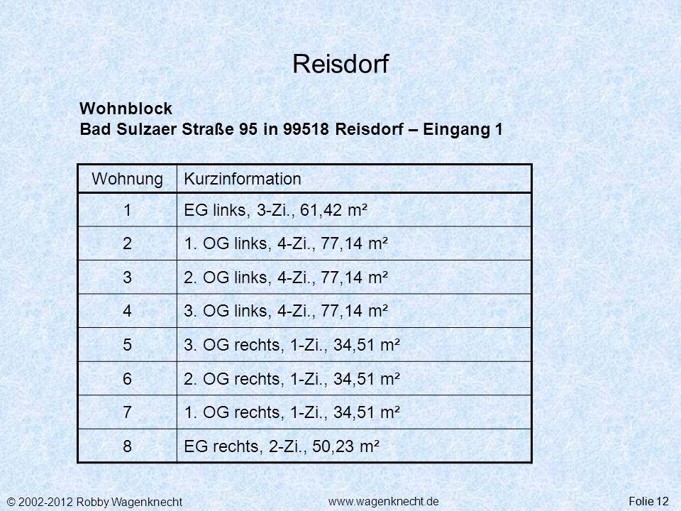 Reisdorf Wohnblock Bad Sulzaer Straße 95 in 99518 Reisdorf – Eingang 1