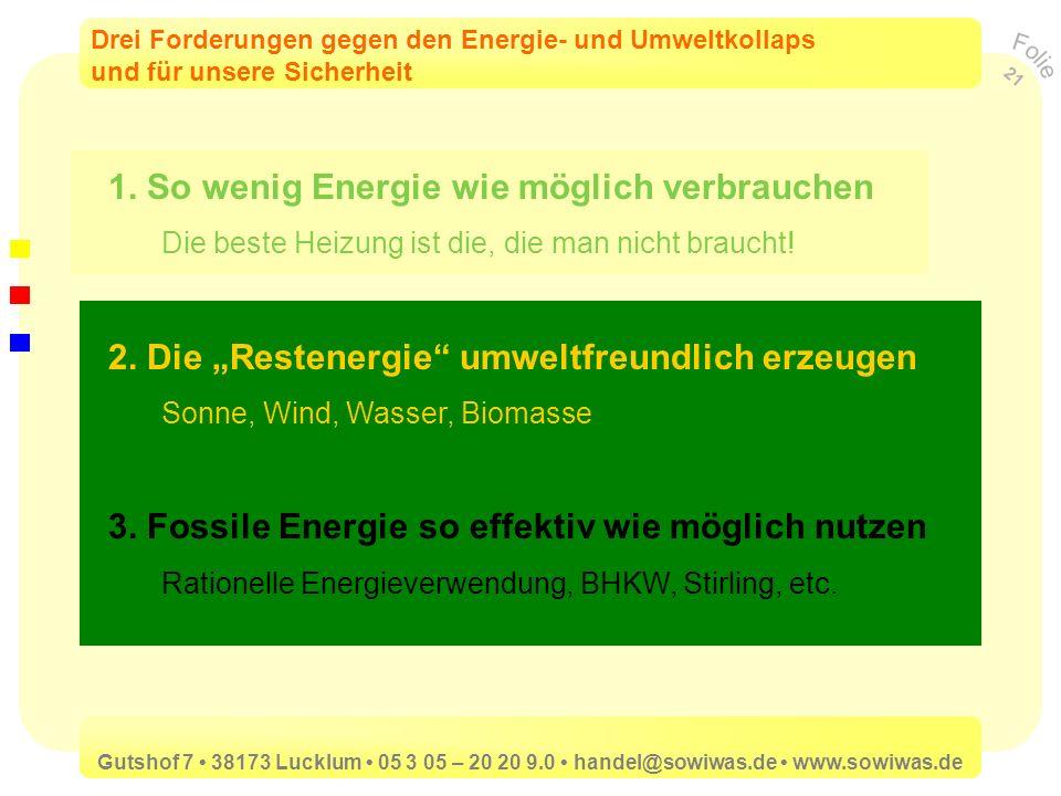 1. So wenig Energie wie möglich verbrauchen