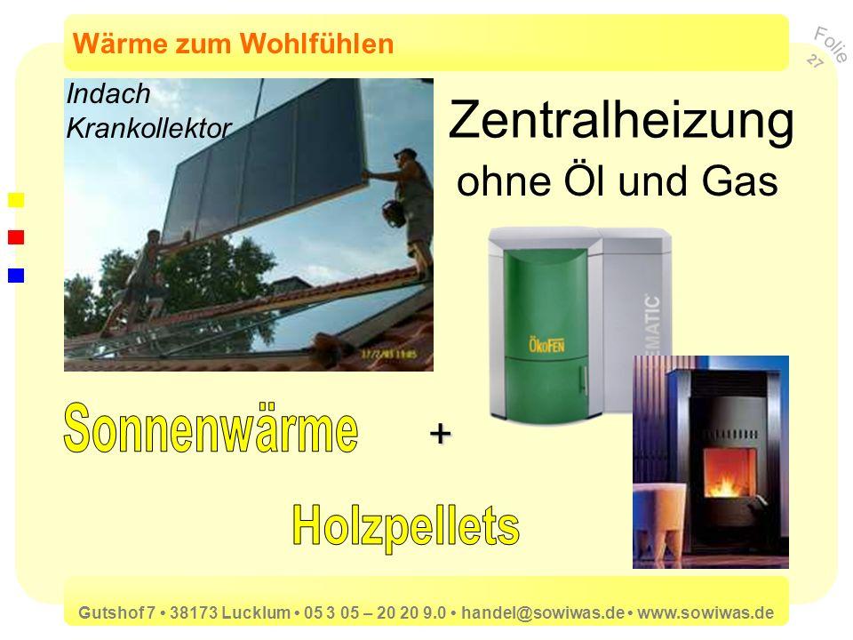 Zentralheizung ohne Öl und Gas Sonnenwärme + Holzpellets