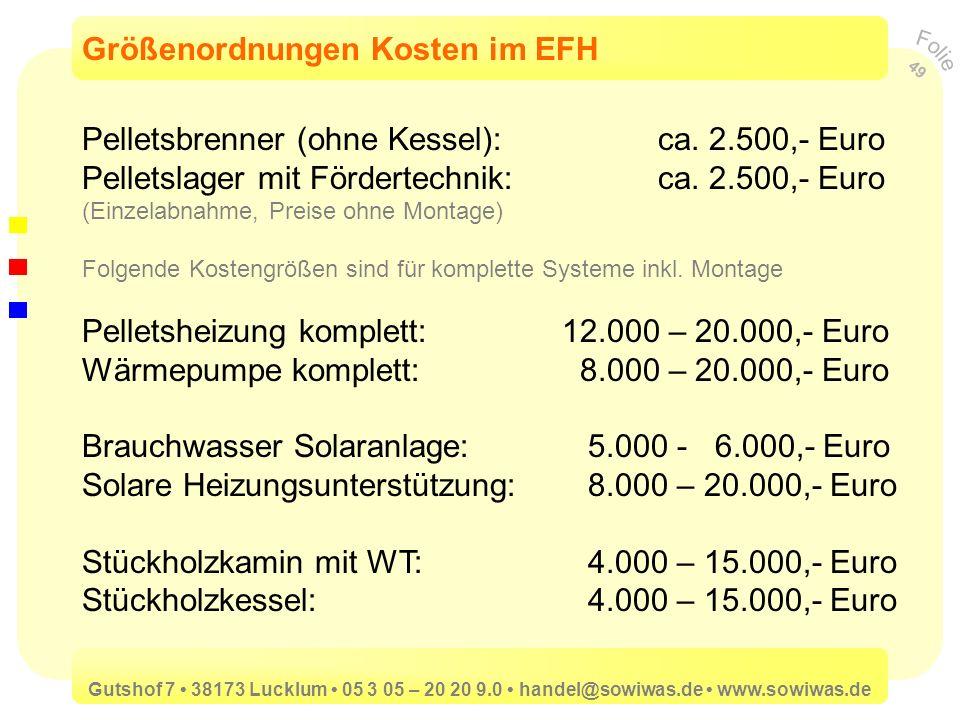Größenordnungen Kosten im EFH