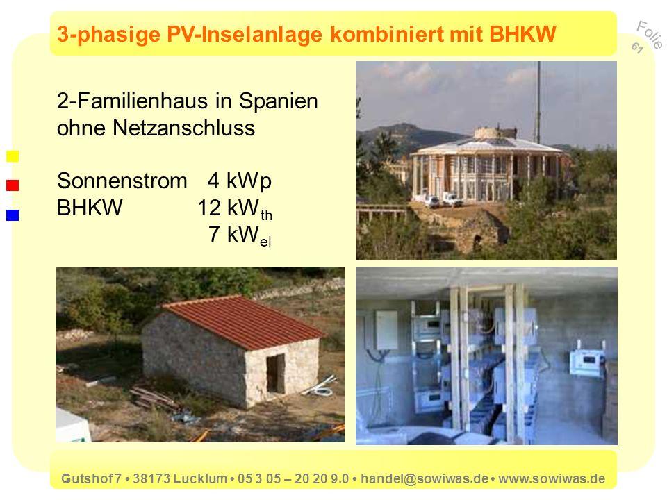 3-phasige PV-Inselanlage kombiniert mit BHKW