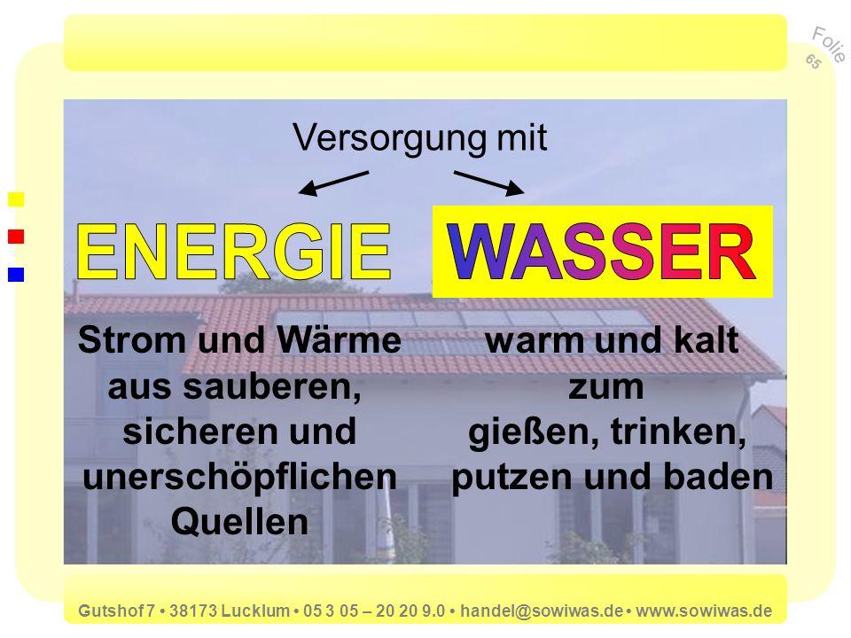 ENERGIE WASSER Versorgung mit Strom und Wärme aus sauberen,