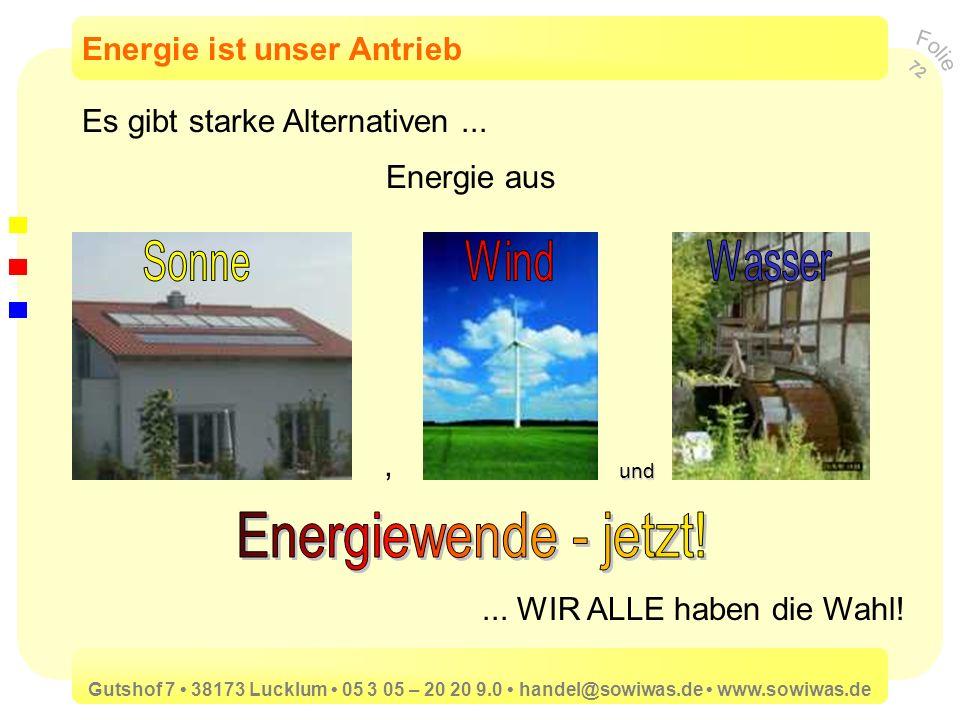 Energiewende - jetzt! Sonne Wind Wasser Energie ist unser Antrieb