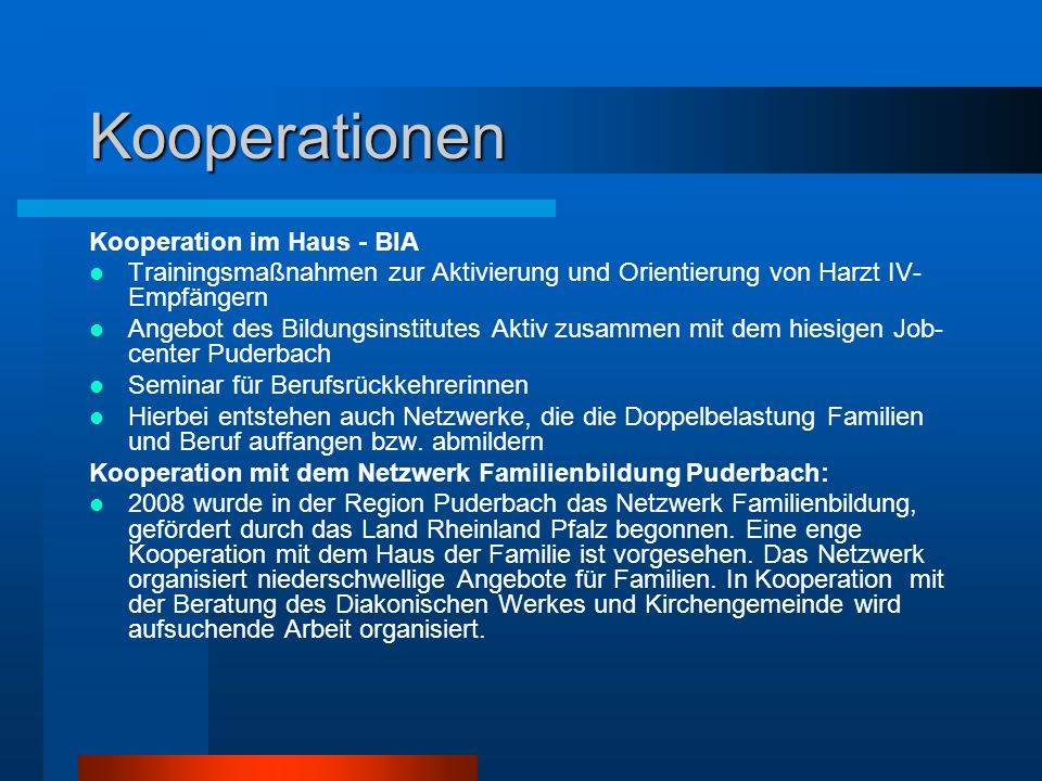 Kooperationen Kooperation im Haus - BIA