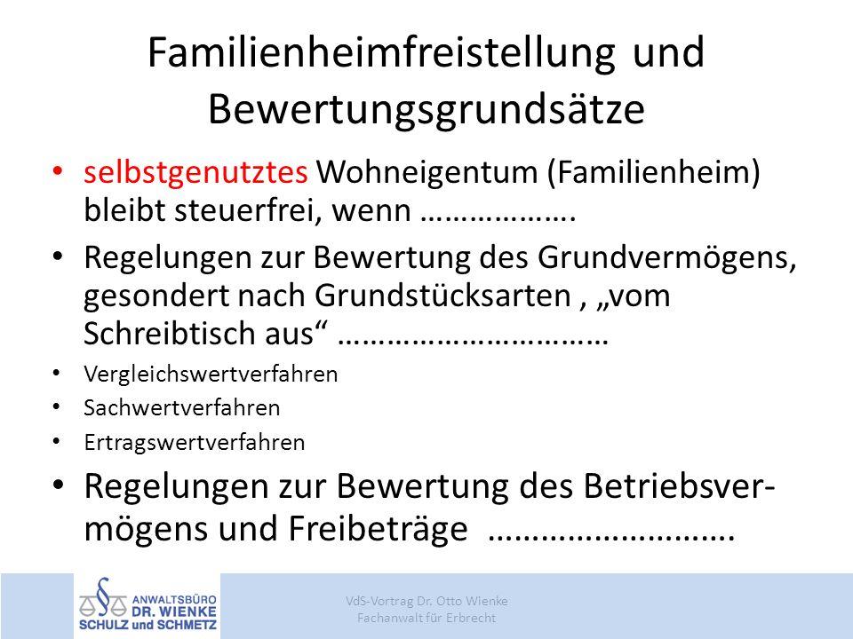 Familienheimfreistellung und Bewertungsgrundsätze
