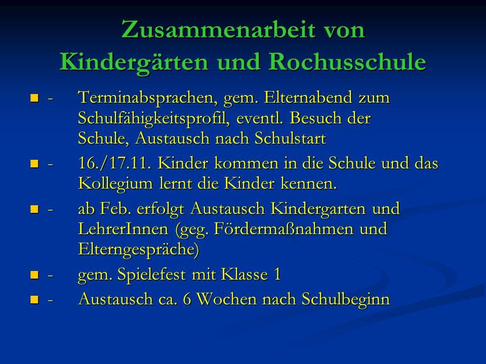 Zusammenarbeit von Kindergärten und Rochusschule