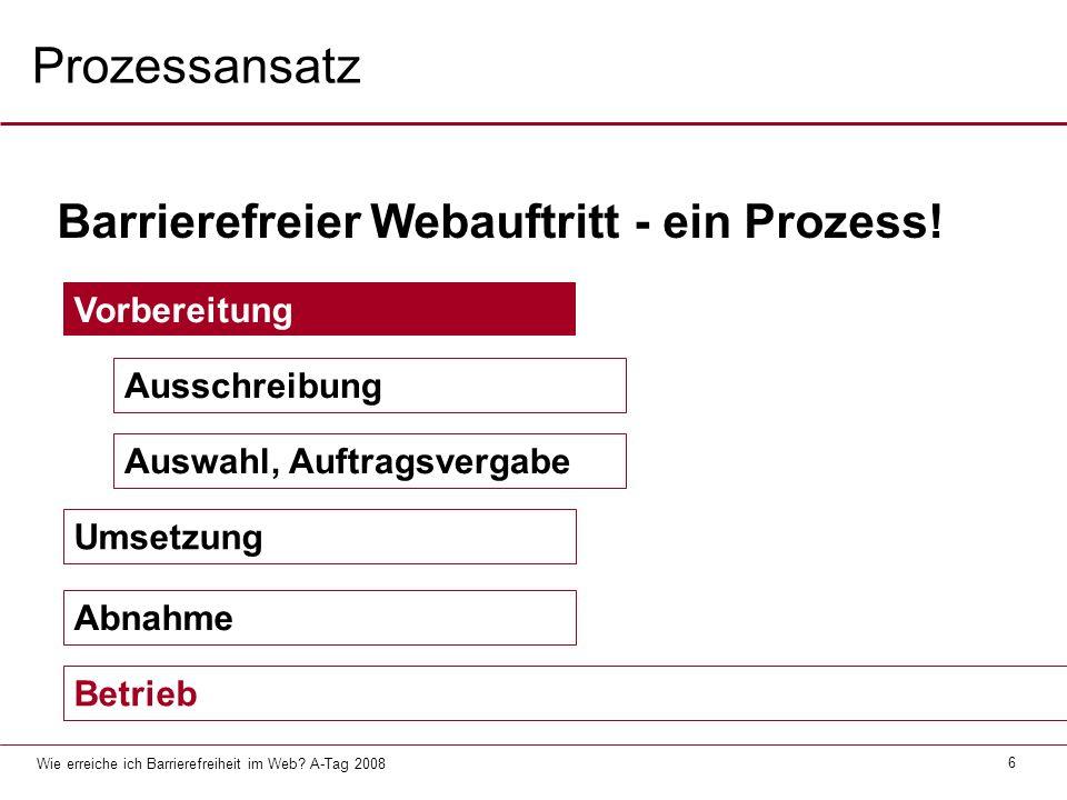 Prozessansatz Barrierefreier Webauftritt - ein Prozess! Vorbereitung