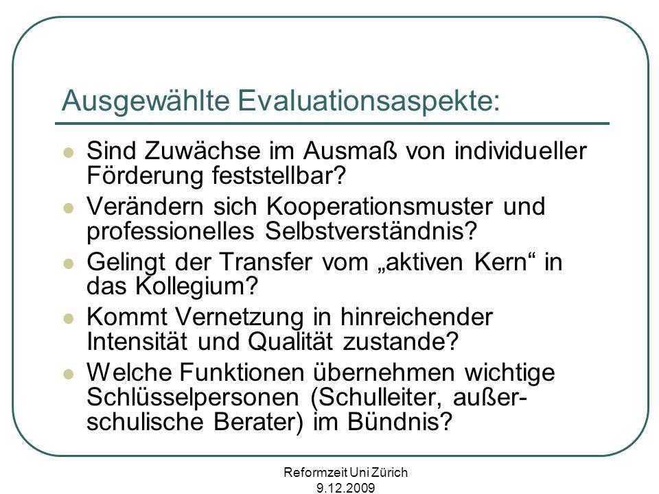 Ausgewählte Evaluationsaspekte: