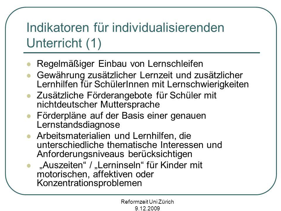 Indikatoren für individualisierenden Unterricht (1)
