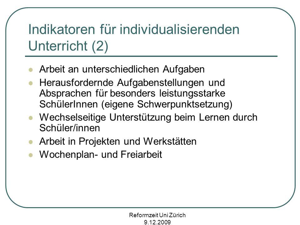 Indikatoren für individualisierenden Unterricht (2)