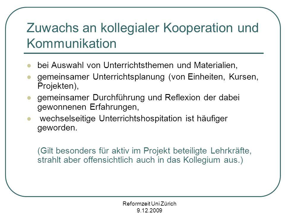 Zuwachs an kollegialer Kooperation und Kommunikation