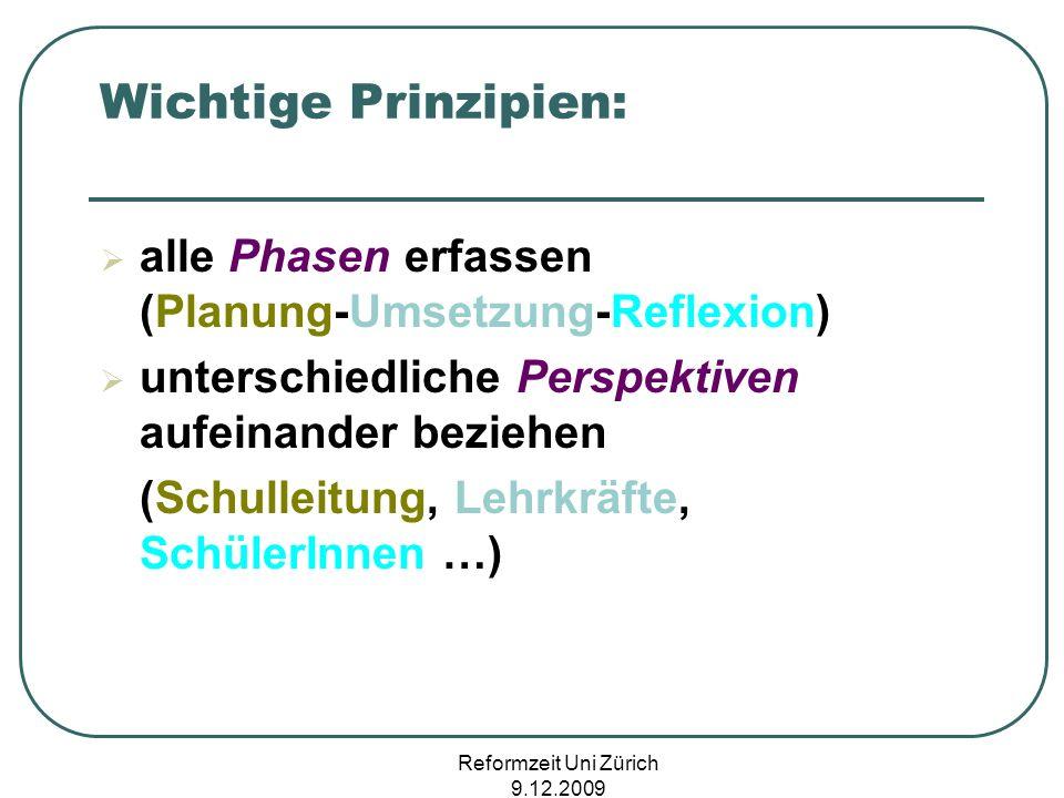 Wichtige Prinzipien: alle Phasen erfassen (Planung-Umsetzung-Reflexion) unterschiedliche Perspektiven aufeinander beziehen.