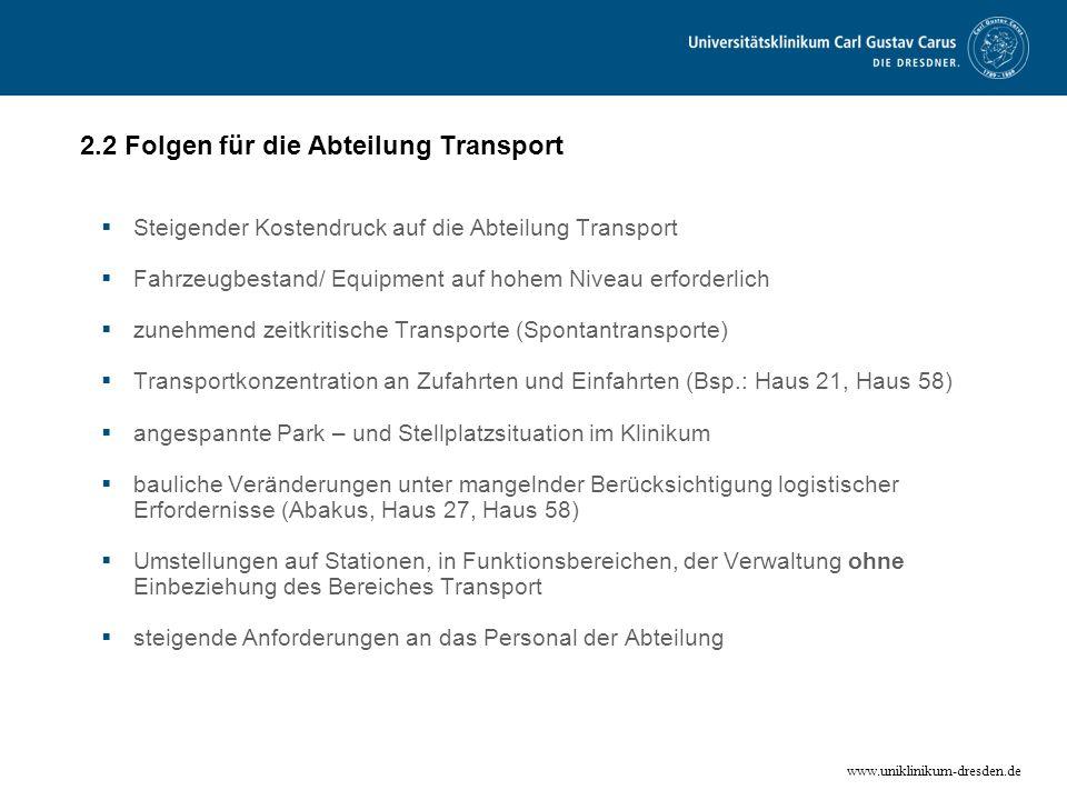 2.2 Folgen für die Abteilung Transport