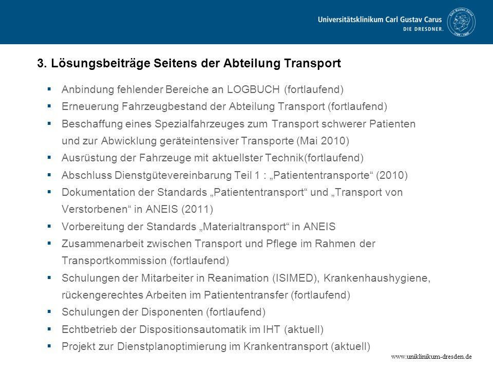 3. Lösungsbeiträge Seitens der Abteilung Transport