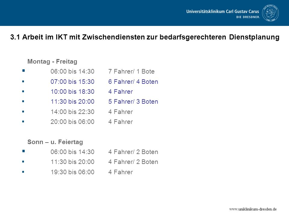 Montag - Freitag 06:00 bis 14:30 7 Fahrer/ 1 Bote Sonn – u. Feiertag