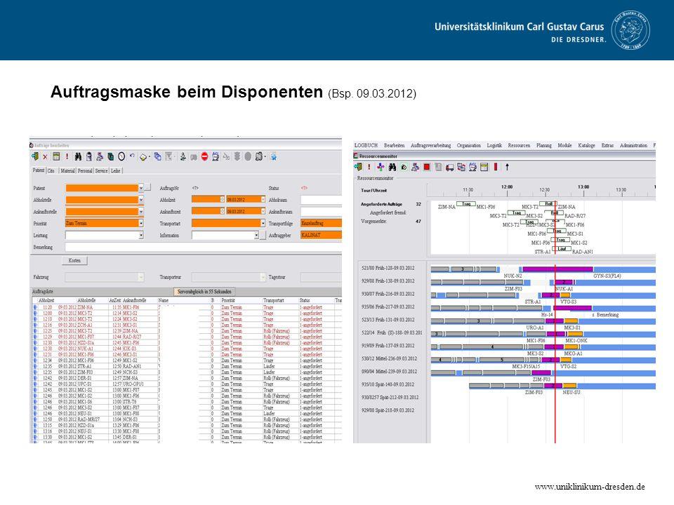 Auftragsmaske beim Disponenten (Bsp. 09.03.2012)