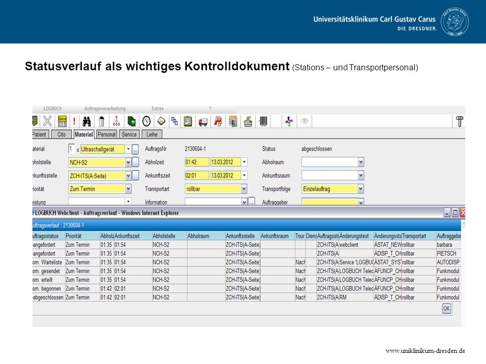 Statusverlauf als wichtiges Kontrolldokument (Stations – und Transportpersonal)