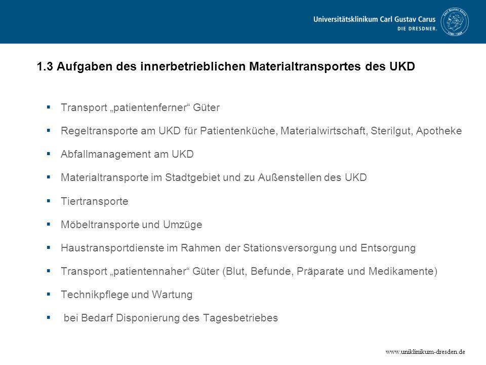 1.3 Aufgaben des innerbetrieblichen Materialtransportes des UKD