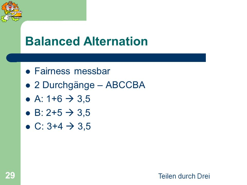 Balanced Alternation Fairness messbar 2 Durchgänge – ABCCBA