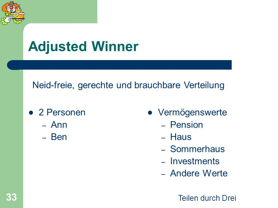 Adjusted Winner Neid-freie, gerechte und brauchbare Verteilung