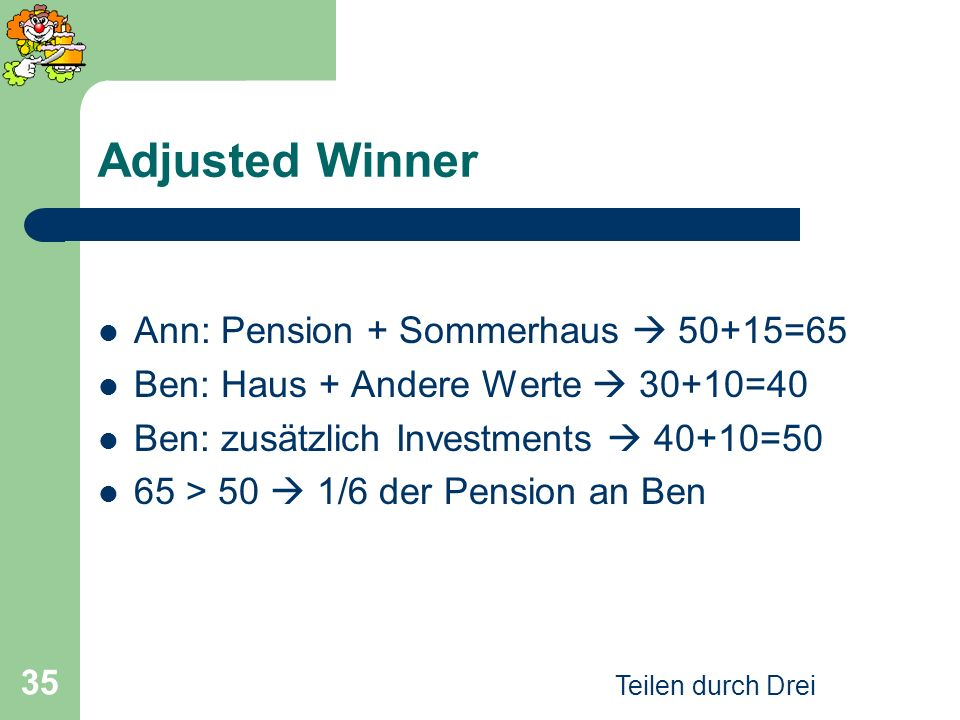 Adjusted Winner Ann: Pension + Sommerhaus  50+15=65
