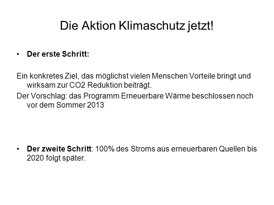 Die Aktion Klimaschutz jetzt!