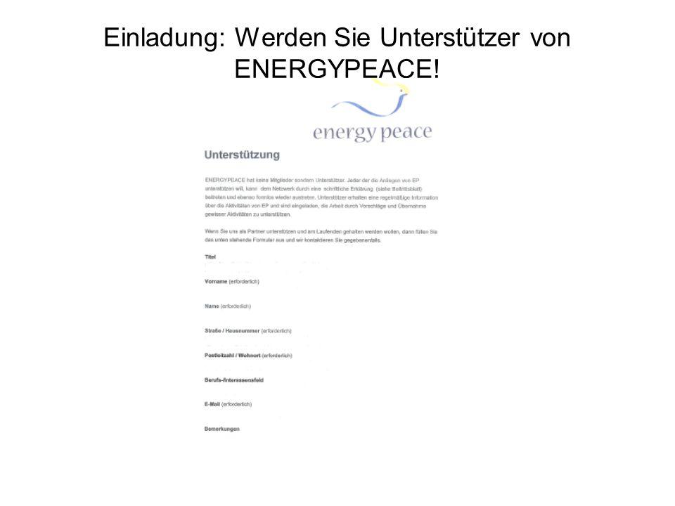 Einladung: Werden Sie Unterstützer von ENERGYPEACE!