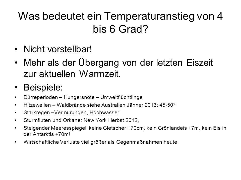 Was bedeutet ein Temperaturanstieg von 4 bis 6 Grad