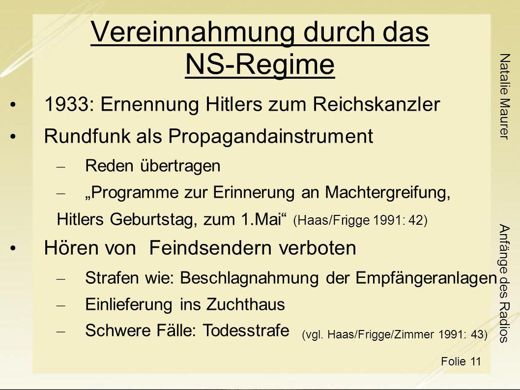 Vereinnahmung durch das NS-Regime