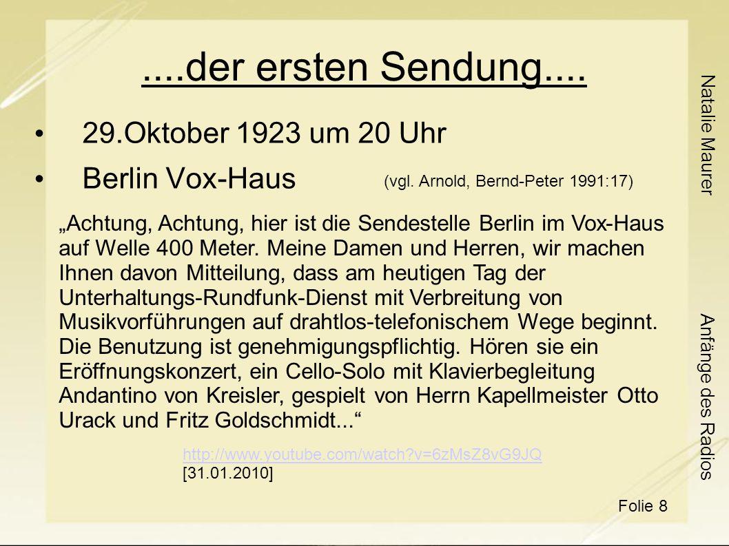 ....der ersten Sendung.... 29.Oktober 1923 um 20 Uhr Berlin Vox-Haus