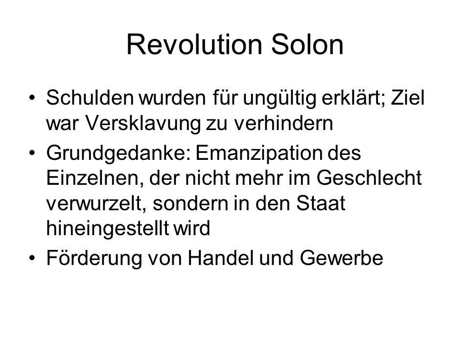 Revolution SolonSchulden wurden für ungültig erklärt; Ziel war Versklavung zu verhindern.