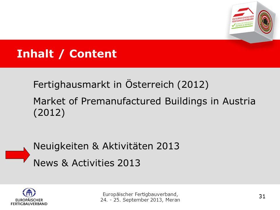 Inhalt / Content Fertighausmarkt in Österreich (2012)