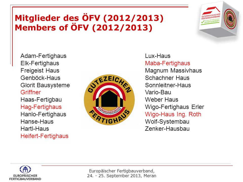 Mitglieder des ÖFV (2012/2013) Members of ÖFV (2012/2013)