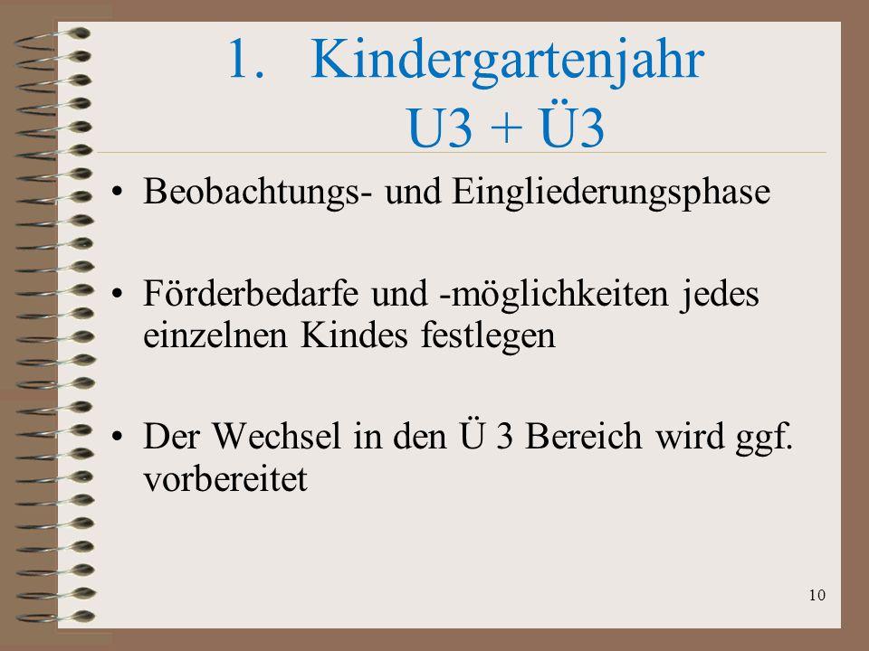 Kindergartenjahr U3 + Ü3 Beobachtungs- und Eingliederungsphase