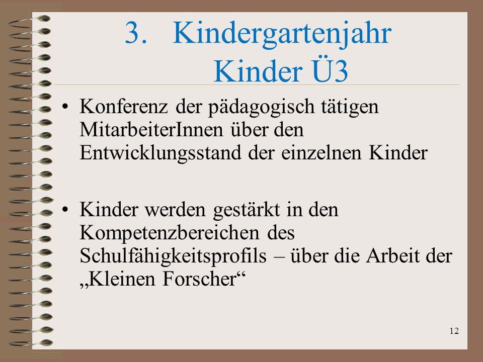 Kindergartenjahr Kinder Ü3