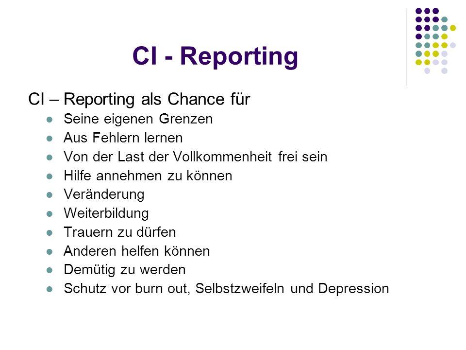 CI - Reporting CI – Reporting als Chance für Seine eigenen Grenzen