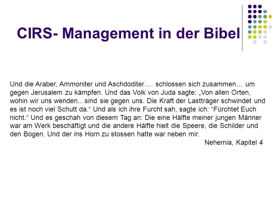 CIRS- Management in der Bibel