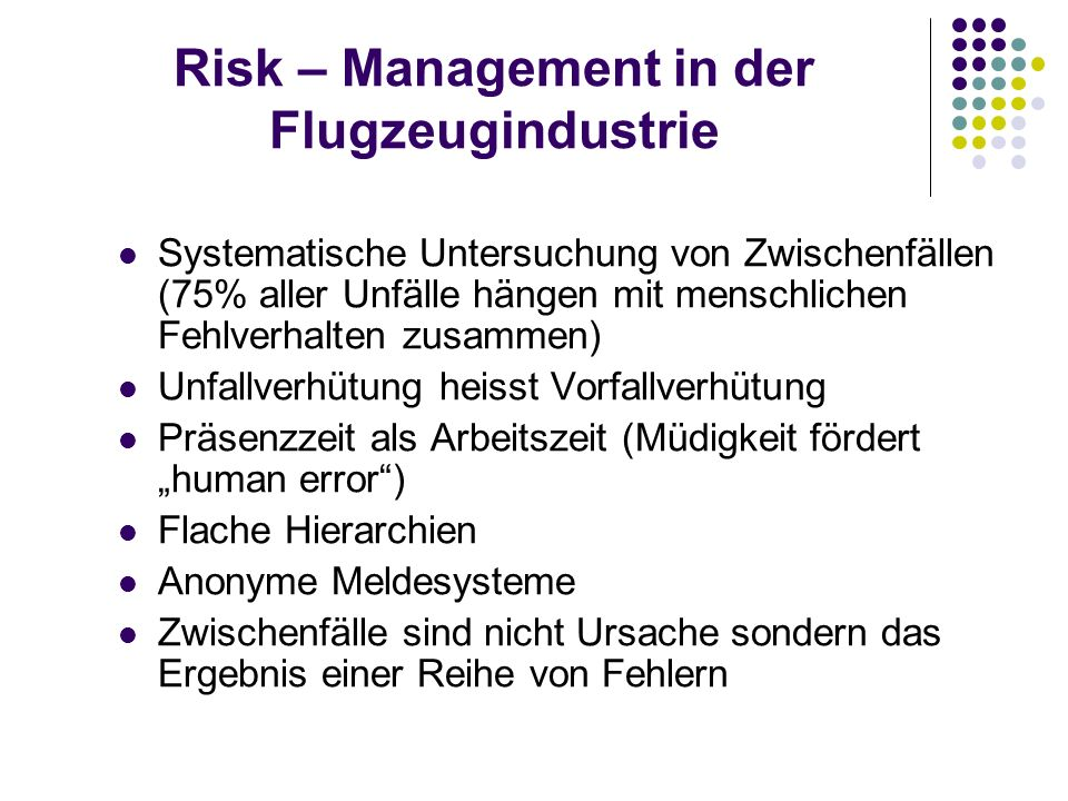 Risk – Management in der Flugzeugindustrie
