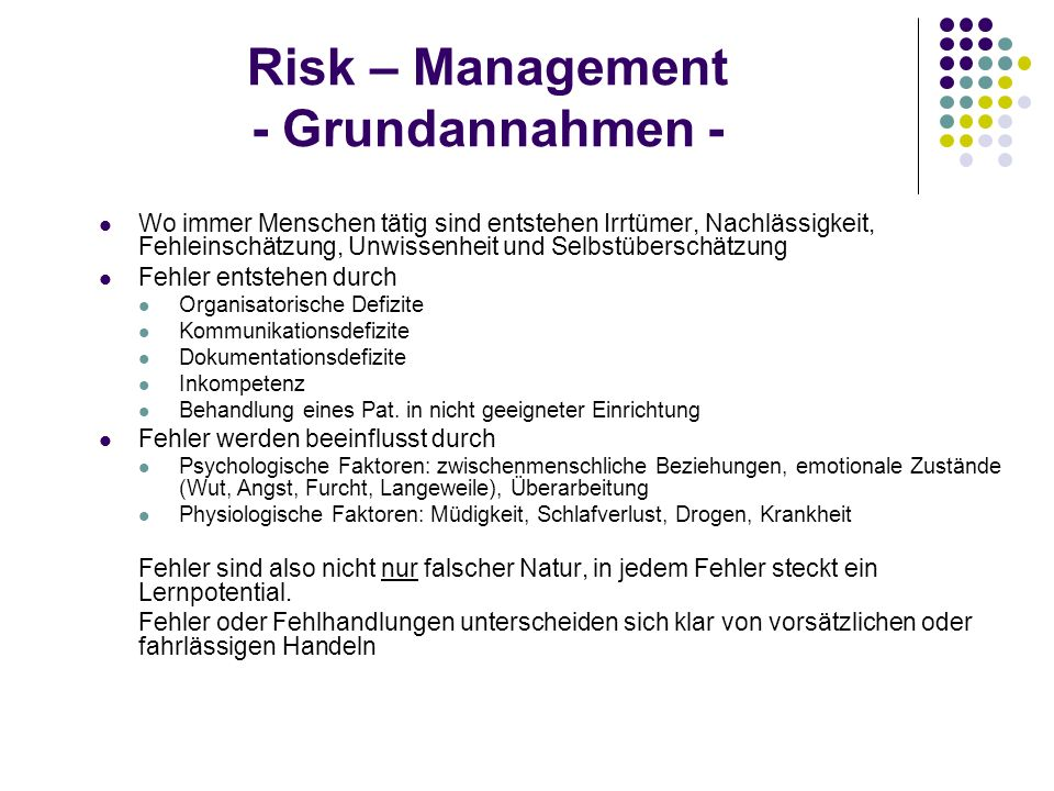 Risk – Management - Grundannahmen -